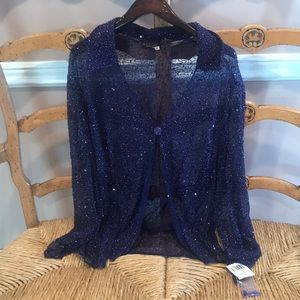 Marina Rinaldi beaded big shirt 22W purple .